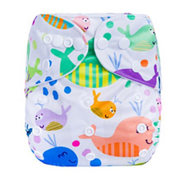 Colorful Whales Modern Cloth Nappies