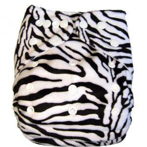 Minky Fluffy Zebra Modern Cloth Nappies