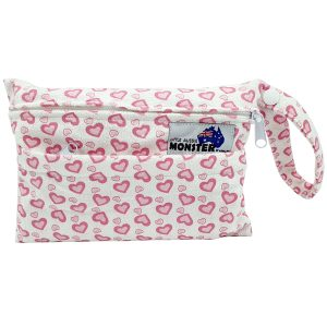Mini Wet Bag Minky Pink Hearts