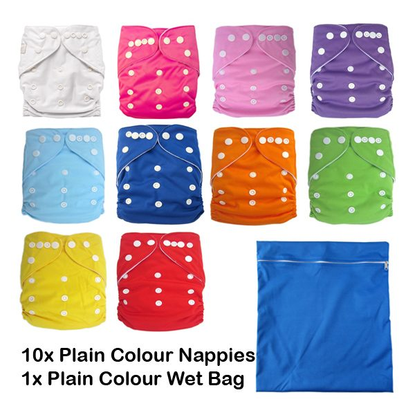 10 Plain modern cloth nappies