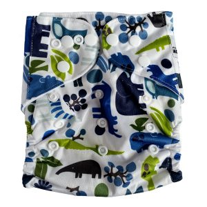 Blue Green Wild Animals Cloth Nappies