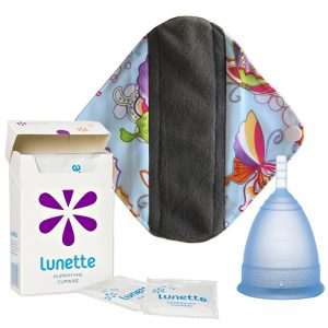 Lunette menstrual cup wipes package
