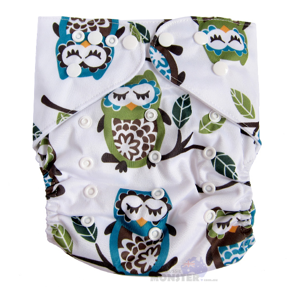 owls XL cloth nappy