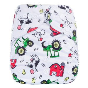 Farm Tractor Cow Cloth Nappy Front