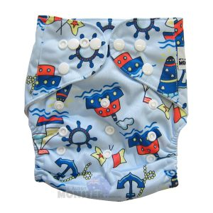 Cute Blue Boats Modern Cloth Nappies