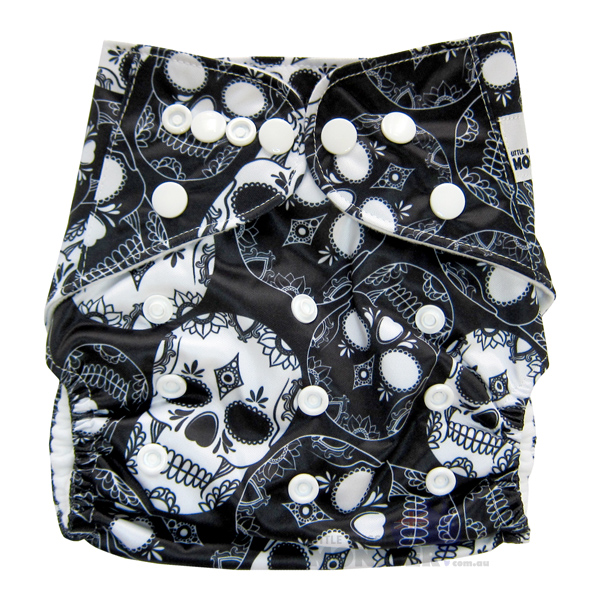Black White Skulls Modern Cloth Nappies