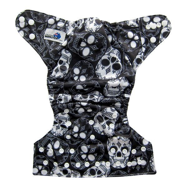 Black White Skulls Cloth Diaper