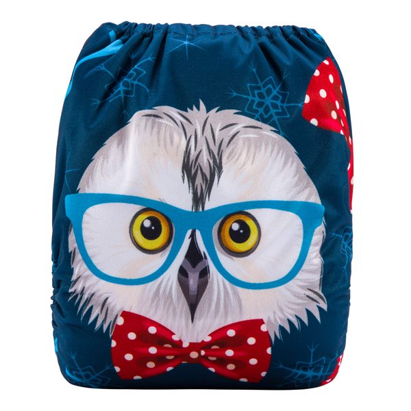 Owl with bow tie cloth nappy