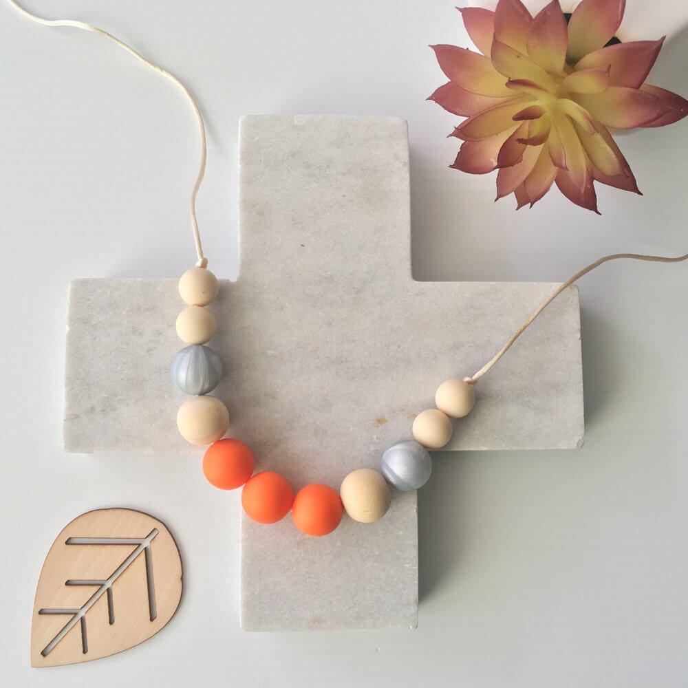 Silicone Necklace Havana Orange