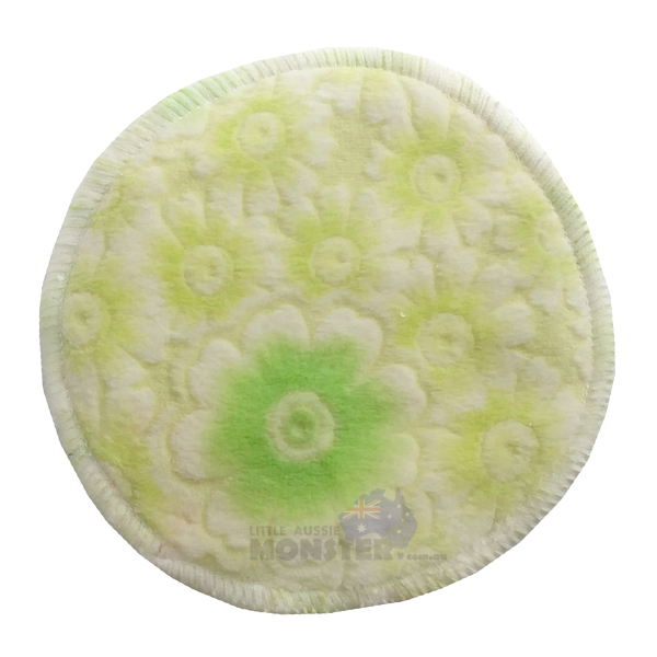 Bamboo Breast Pad Minky Green Flowers