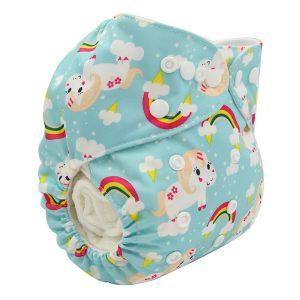 Cute Unicorn & Rainbow Modern Cloth Nappy