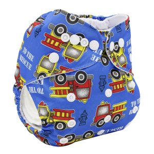 Blue Fire Engines Modern Cloth Nappy