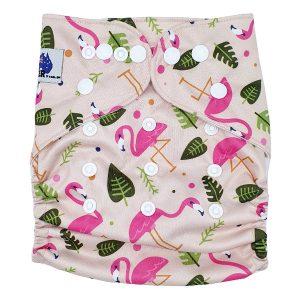 Pink Flamingo Cloth Diaper Front