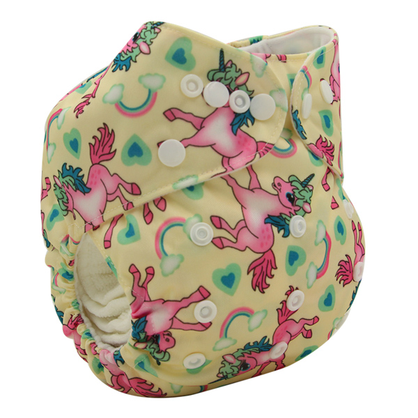 Pink Unicorns & Rainbows Modern Cloth Nappy