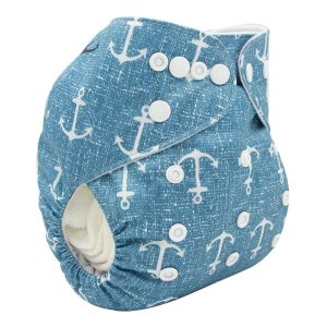 Blue Anchors Modern Cloth Nappy