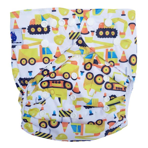 Junior XL cloth nappy Construction Diggers