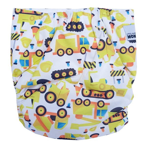 Junior XL cloth diaper Construction Diggers