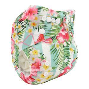 Flamingos & Flowers Modern Cloth Nappy