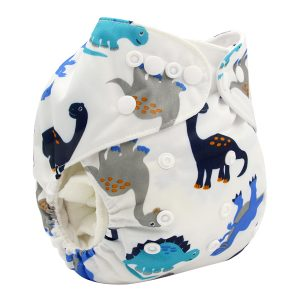 Grey & Blue Dinos Modern Cloth Nappy