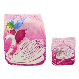 Pretty Swan & Fairy Modern Cloth Nappy