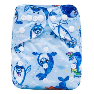 Blue Cute Seals Modern Cloth Nappies