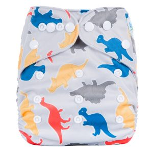 Yellow Blue Dino Modern Cloth Nappy