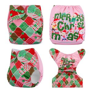 xmas pink wrapping cloth nappy