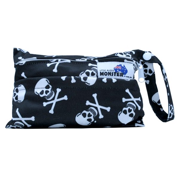 Mini Wet Bag Black Skulls