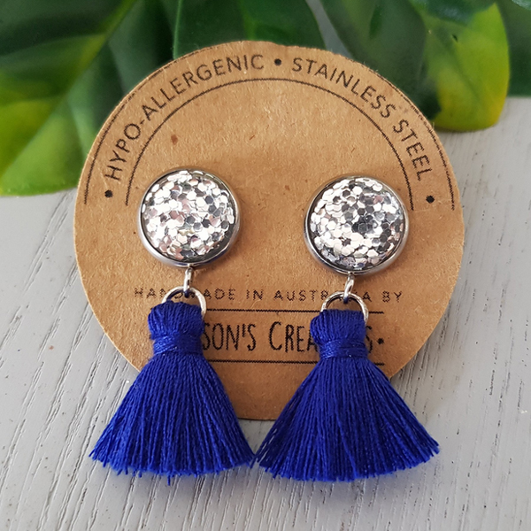 Dark Blue Small Tassel Earings Hypo-allergenic