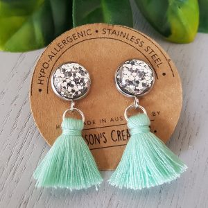 Light Aqua Small Tassel Earings