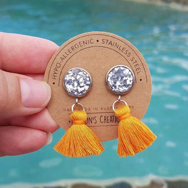 Orange Small Tassel Earrings