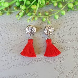 Red Small Tassel Earings Hypo-allergenic