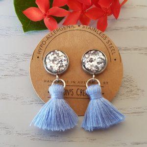 Silver Small Tassel Earings Hypo-allergenic