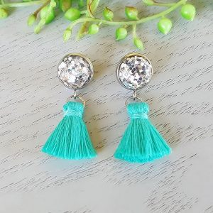 Teal Small Tassel Earings Hypo-allergenic