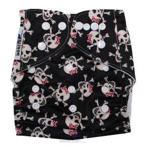 Pink Bows & Skulls Modern Cloth Diaper Front