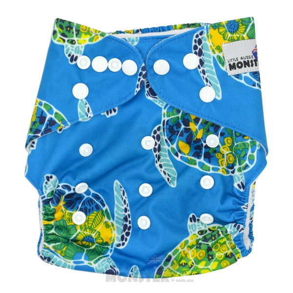 Blue Sea Turtles Modern Cloth Nappy Front
