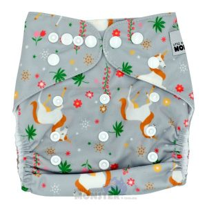 Grey Unicorns Modern Cloth Nappy Front