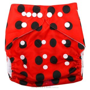 Red & Black Spots Modern Cloth Nappy Front