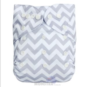 Grey Chevron Modern Cloth Nappy Front
