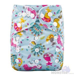 Pretty Fox & Unicorns Modern Cloth Nappy Front