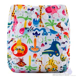 Colorful Jungle Animals Modern Cloth Nappy Front