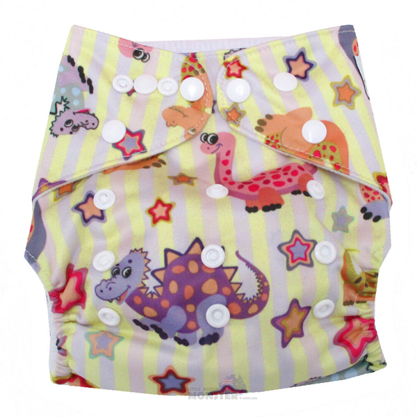 Pink Dinos Modern Cloth Nappy Front