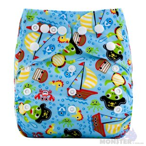 Pirate Turtles Modern Cloth Nappy Front