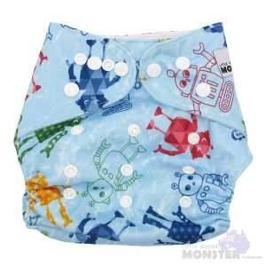 Blue Robots Modern Cloth NappyBlue Robots Modern Cloth Nappy Front