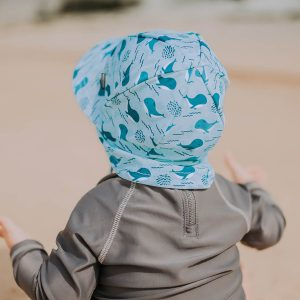 Baby Swim Flap Hat Blue Whales Back