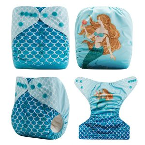 Beautiful Blue Mermaid Modern Cloth Nappy All