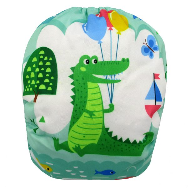 Crocodile Party Modern Cloth Nappy Back