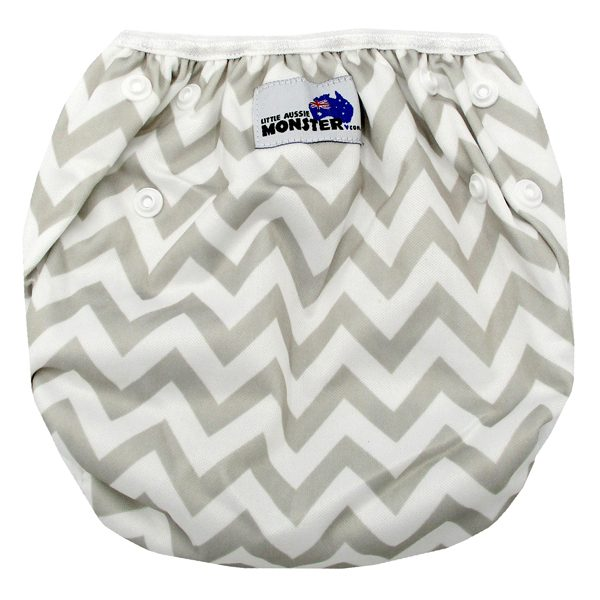 Grey Chevron Swim Nappy Back