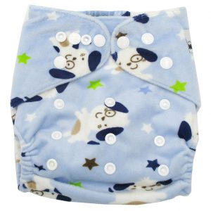 Blue Puppies Modern Cloth Nappy Front