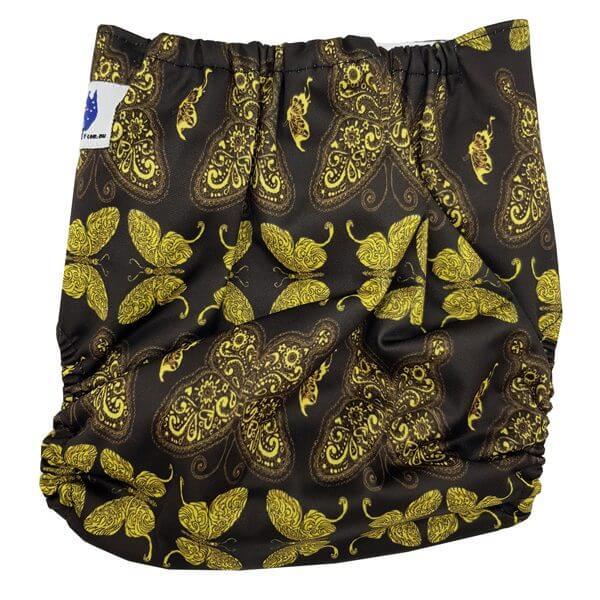 Gold Butterflies Reusable Nappy